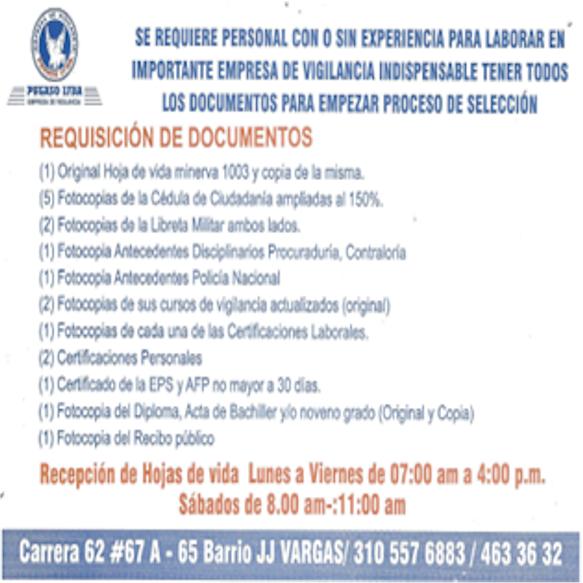 CONVOCATORIA PERSONAL DE VIGILANTES – PEGASO