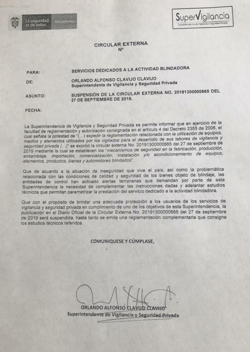 SUSPESIÓN DE LA CIRCULAR EXTERNA N° 201913000000665 DEL 27 DE SEPTIEMBRE DE 2019