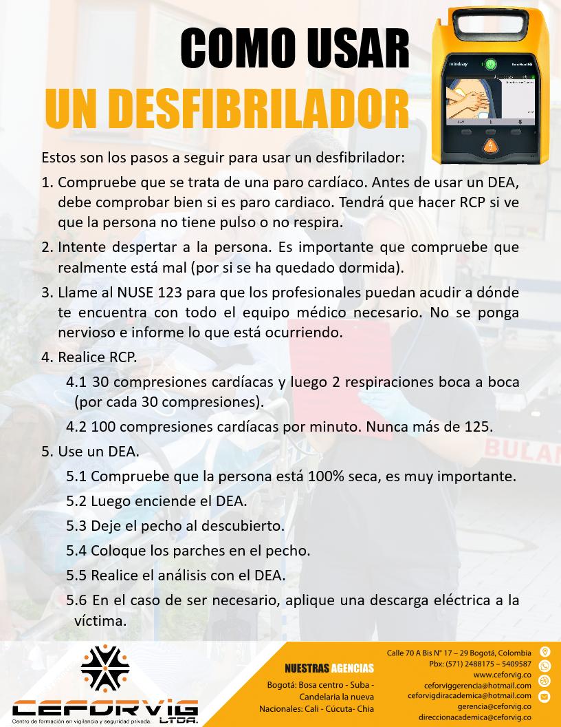 COMO USAR EL DEA – (DESFIBRILADOR EXTERNO AUTOMÁTICO)