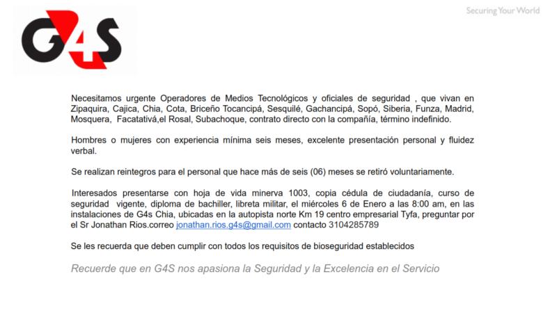 OPERADOR DE MEDIOS TECNOLOGICOS G4S