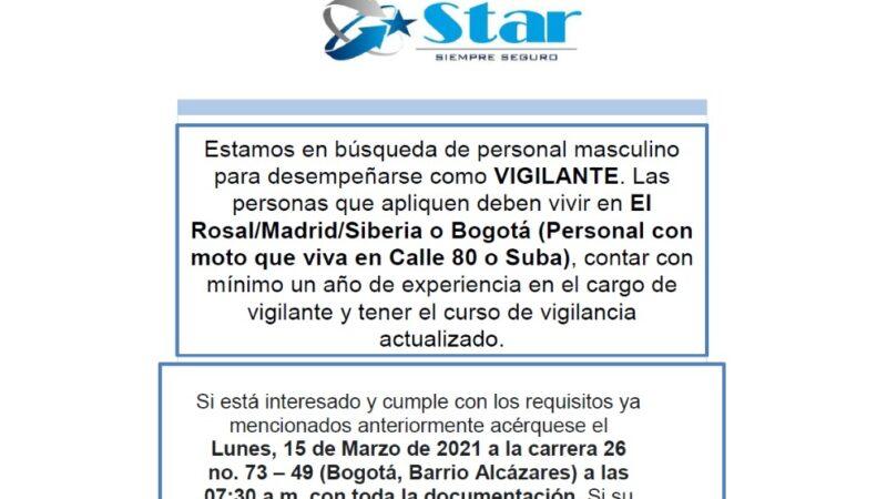 OFERTA LABORAL – VIGILANTE – (ROSAL, MADRID, SIBERIA)