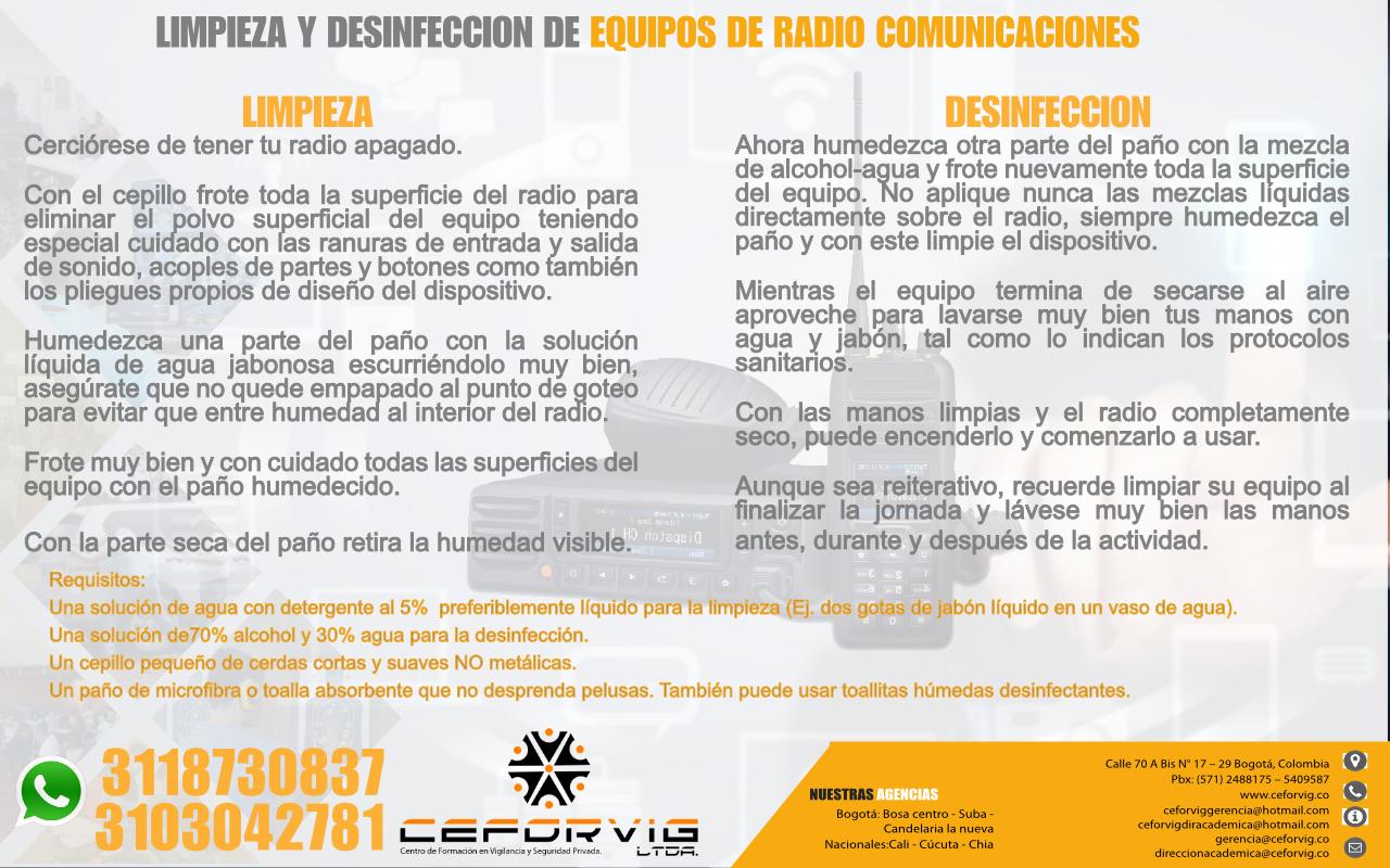 LIMPIEZA Y DESINFECCION DE EQUIPOS DE RADIO COMUNICACIONES