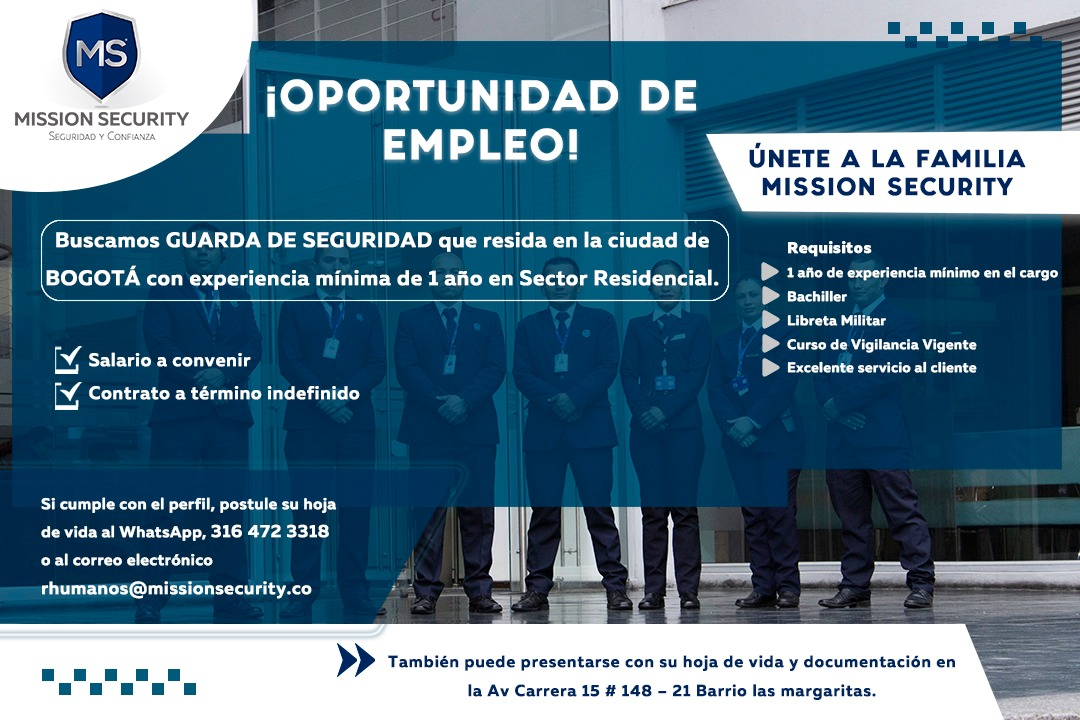 VACANTE LABORAL – MISSION SECURITY